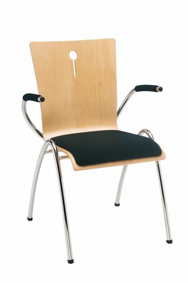 Kerkstoelen Sempre verchroomd met armleggers en opdekstoffering