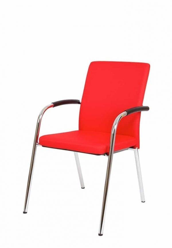 Vergaderstoel gestoffeerd rood BM35
