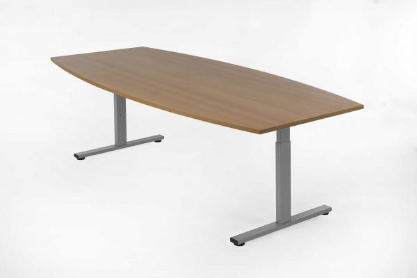 Tonvormige tafel 220x110 beuken blad aluminium kleur frame
