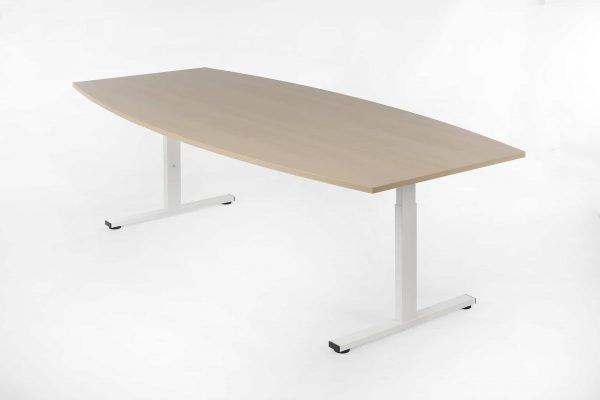 Tonvormige tafel eiken white wash en wit frame