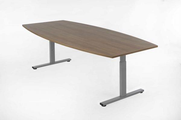 Tonvormige tafel noten blad, aluminium kleur frame