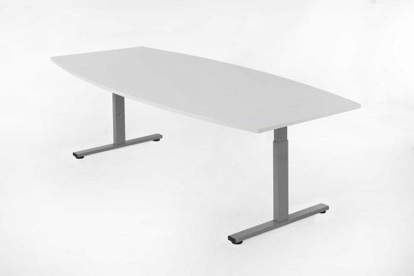 Tonvormige tafel wit blad, aluminium kleur frame