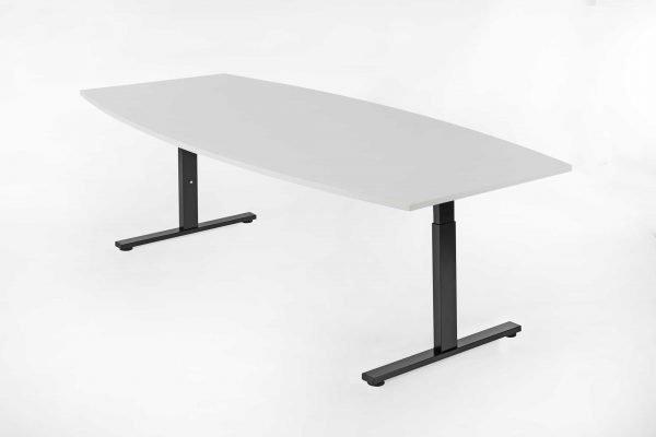 Tonvormige tafel wit blad en zwart frame