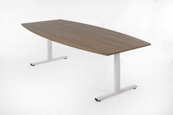 Tonvormige tafel wit frame donker noten blad