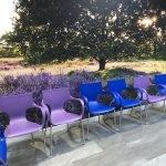 Blauw en paarse Jim stoel gezondheidscentrum Assen